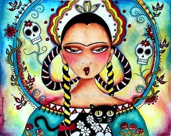 Girl Art Print, 5 x 6.5 or 8 x 10, Day of the Dead Mexican Frida Kahlo Girl and Cat, Mixed Media Watercolor, Turquoise Blue Pink