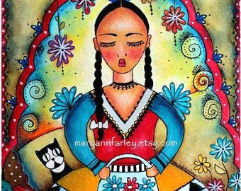 Mexican Girl Art Print, Day of the Dead Art, Girl and Cat Art, Watercolor Mixed Media Illustration, Original, 5 x 6.5, Red Blue