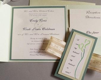 Handmade  Pocket Wedding Invitation with Judaic Quote