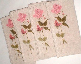 Roses on Stems Linen Napkins - Vintage 60's Tableware - Set of 4