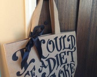 """Custom Quote Burlap Tote Bag 16"""" - Beach Bag - Grocery Tote"""