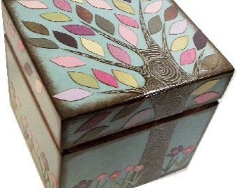 Keepsake, Treasure, Trinket Storage and Organization Box For Baby or Child, Colorful Tree Box, Custom Designs, Decorative Box, MADE TO ORDER