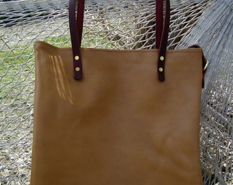 Tan Leather Bag, Leather Tote or Purse Burgandy Leather Straps 15 x 15 Inches Large Book Bag
