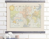 Vintage Map Wall Art, Baby, Alphabet, Wood Bound Canvas