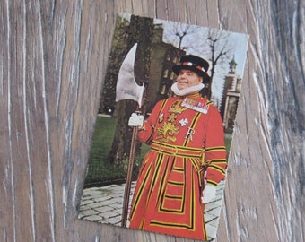 1960 Yeoman Warder at Tower of London Postcard for Tourists