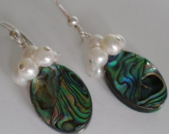 Paua Shell with Cluster White Freshwater Pearls Sterling Silver dangle earrings