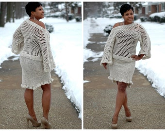 Crochet Wheat Colored Skirt Set