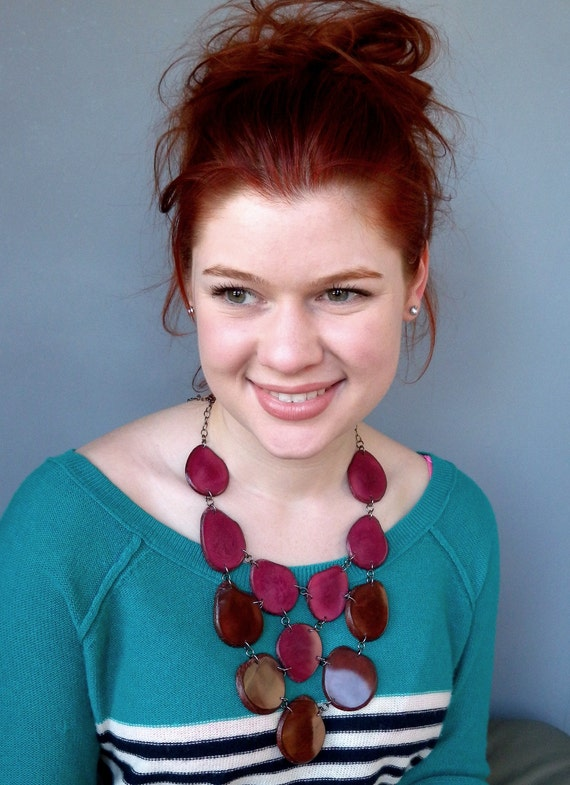 Chocolate Raspberry Eco Friendly Tagua Necklace Bib with Free Shipping