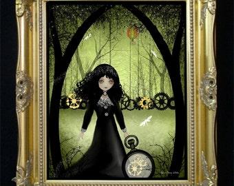 Steampunk Art Print --  Digital Painting -- 8x10 -- Clockwork Princess -- Goth Girl - Dragonflies - Woodland