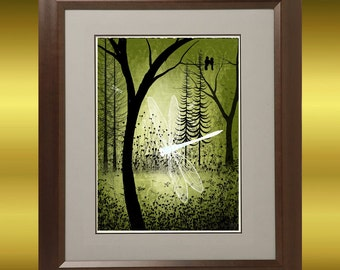 Landscape Fantasy Art Tree Print -- Enchanted -- Trees and Dragonflies