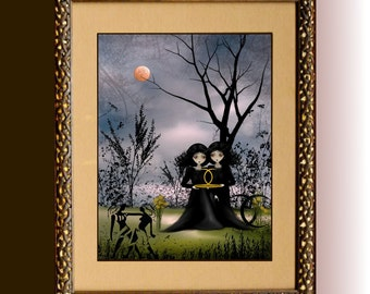 Zodiac Art Astrology Art Goth Girl Digital Painting Art Print ---  GEMINI