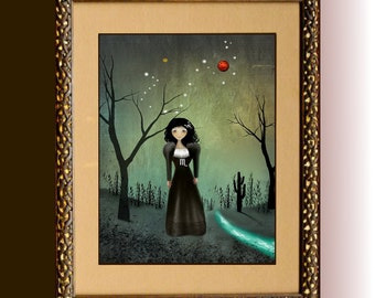 Zodiac Art Goth Girl Art with Constellation and Symbols -  Art Print ---  SCORPIO