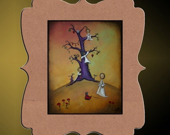 Whimsical art Creeper Art Print - Whimsical Tree - Hedgehog - Owl - Black Cat - Dragonflies -- Greeting the Day