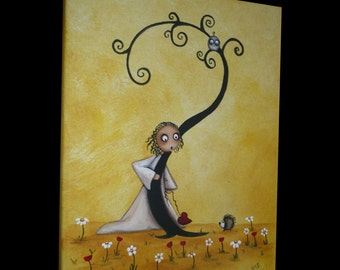 Original Acrylic Creeper Art  Painting -  All Alright - 8x10 - Whimsical - Hedgehog - Owl