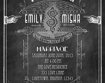 Old School - Printable DIY Chalkboard Art Deco Vintage Modern Wedding Invitation Suite - Victorian Typography  -  Personalized Invitation