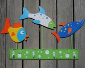 Kids Bathroom Towel Rack FUNNY FISH - Hand Painted Wood