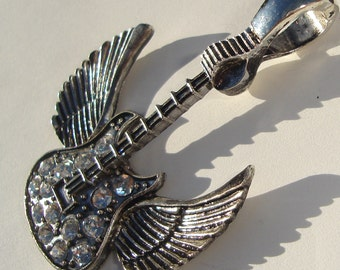 gun metal winged guitar with crystals hinged bail pendant new supplies Rock On guitar musicians music lovers