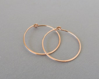 Simple Rose Gold Hoops, Hoop earrings rose gold filled