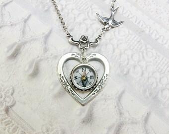 Silver Necklace - Silver HEART Necklace - Silver COMPASS Necklace - An ORIGINAL by BirdzNbeez - Graduation Birthday Anniversary Bridesmaids