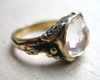 Rose Cut White Topaz and Bronze Woodland Vine Ring