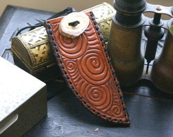 Celtic Tooled Leather Knife Sheath -Celtic Knife Sheath-Celtic Sheath-Tooled Leather Knife Sheath-Leather Sheaths-Knife Sheath