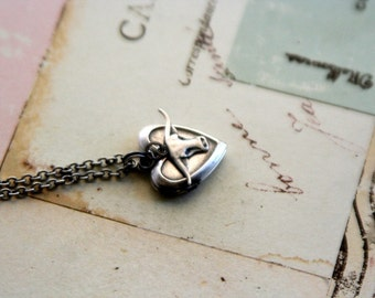 bull. locket necklace. silver ox color