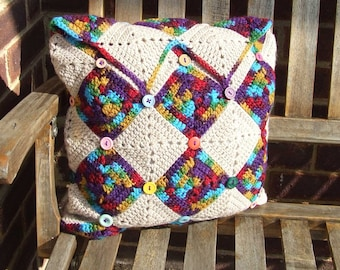 Harlequin Crochet Cushion Cover