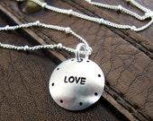 """Dotted Love Necklace - 5/8"""" Hand Stamped Sterling Silver Domed Disc"""