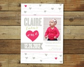 hearts first birthday party invitation - photo card - 1st birthday