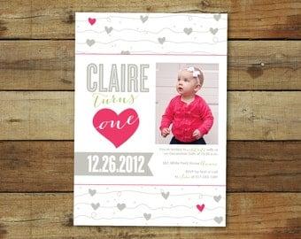 hearts first birthday party invitation - photo card - 1st birthday