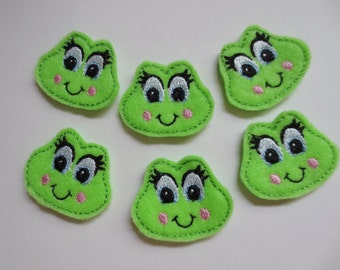 Bright Green Girly Frog Felt Embroidered Applique - 503