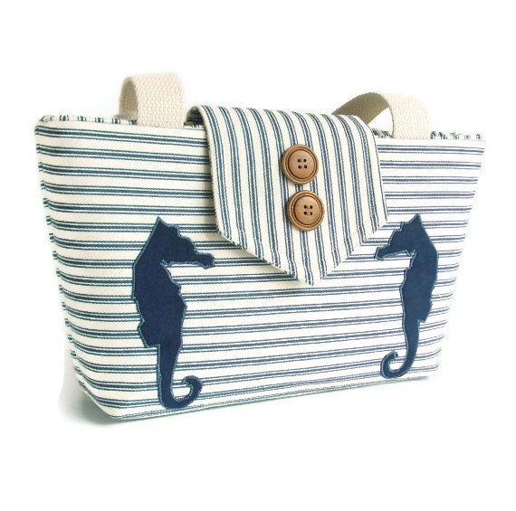 Seahorse Wayfarer Purse - Handmade Appliques and Classic Ticking Stripe
