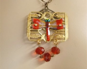 Red Dragonfly Pendant, Victorian Jewelry, Victorian Necklace, Victorian Pendant, Vintage Japanese Tin Pin Necklace, Insect Jewelry, Insect