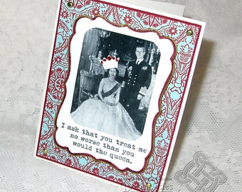 Royalty greeting card, Queen Elizabeth Wedding, England, hand colored, Blue Red White Gold, English Heritage, UK