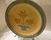 5 Plates for Emily Pfaltzgraff America Americana Tulip Vase Basket Gold Blue Mottled Plate