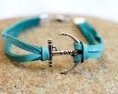 Anchor charm bracelet turquoise leather love hope trust bracelet beach ocean sea jewelry