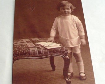 Standing Toddler Boy Blank Greetings Cards  featuring Vintage Image   Choice of border colour