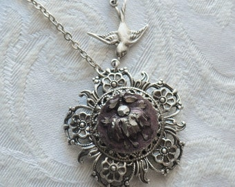 Antique Pewter Button Necklace- Amethyst Fuchsia Flower