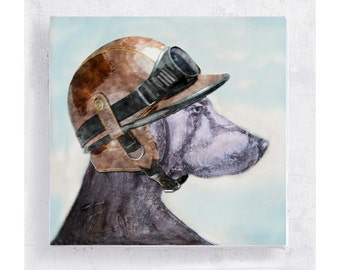 Dog Art - Weimaraner with Motorcycle Helmet - Canvas Print on 5x5 Art Block - Biker Jake - Dog Portrait - Children Art - Playroom Decor