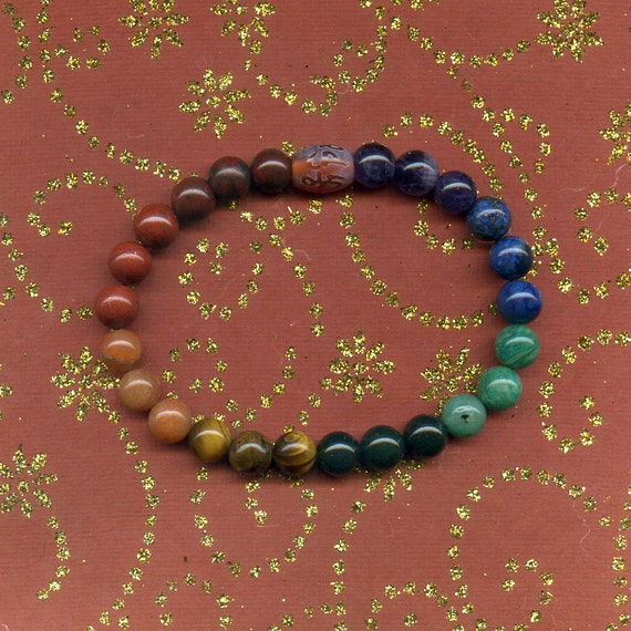 7 chakra meditation bead bracelet mala with mantra by pacifixe