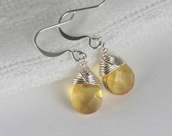Silver Topaz Earrings, Topaz Quartz and Silver Earrings