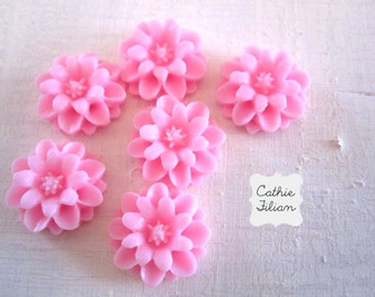 Pink Dahlia Flowers - resin cabochon - Scrapbooking, Jewelry Design, Bobby Pin- set of 6
