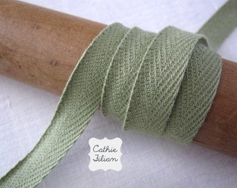 4 yards -  Olive Green - Twill Ribbon - 100% Cotton - 1/2 inch wide