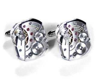 Mens LONGINES Cufflinks Vintage Luxury RARE Shape Watch Cuff Links Wedding Anniversary Groom Fiance Cufflinks GLEAMING - Jewelry edmdesigns