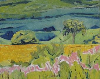 "Art Landscape Oil Painting Impressionist Original Pastoral Appalachian Quebec Canada Francois Fournier "" At The Foot Of Mnt Megantic 20 x 16"