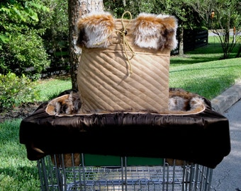Dog Cart Cover - Shopping Seat Cart Cover for Dogs - Chinchilla Faux Fur and Golden Tan Suede - Lynx and Snow Leopard also available