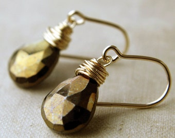 Pyrite Briolette Drop Earrings, Gold and Pyrite Earrings, Fools Gold Briolette Earrings, Weddings