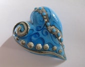 Glass Lampwork Turquoise Heart with Silvered Ivory scrolling