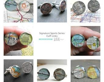 Stadium Series A DLK Designs Original - Vintage Street Map Sterling Silver Round Cufflinks.