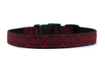 5/8 or 3/4 Inch Wide Dog Collar with Adjustable Buckle or Martingale in Antiqued